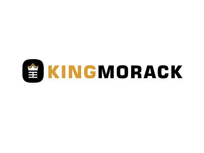 Kingmorack Logo identity text design yellow black black and gold logo type branding logo design icon clean logo logo 2d logo branding