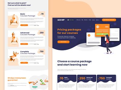SOSWP - Courses Pricing Page website design pricing plan pricing page courses seo agency seo rocket illustrations front-end design design clean design adobexd adobe xd