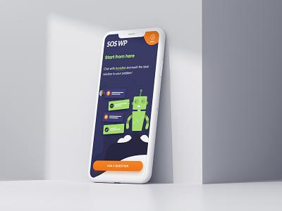 SOSWP - Chat Bot Page ui ux illustration mobile design website design responsive design clean design mobile app mobile mobile website design iphone iphone x robot mobile website