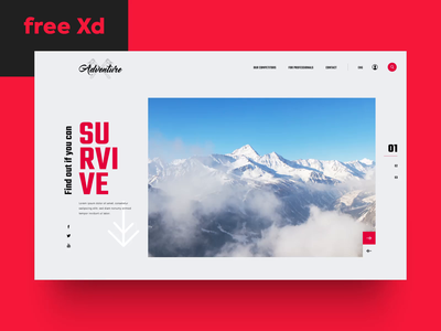 Freebie Time: Survival FREE XD Template web site responsive design web ui ux web design survival template website gift giveaway adobe xd xd free xd freebie free