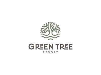 Green Tree Resort - Branding tourism resort resort logo logo design logo design illustration art illustration branding concept branding and identity branding agency branding design resort branding