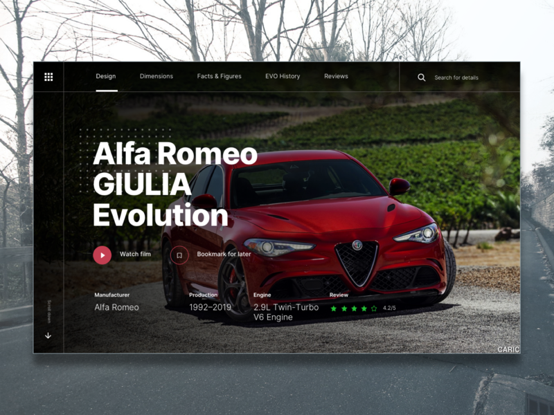 Alfa Romeo Web Template lettering typography web app flat website branding vector design sketch