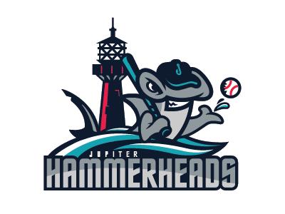 Jupiterhammerheads1 graphic design sports branding baseball mascot logo sports logos jupiter hammerheads milb