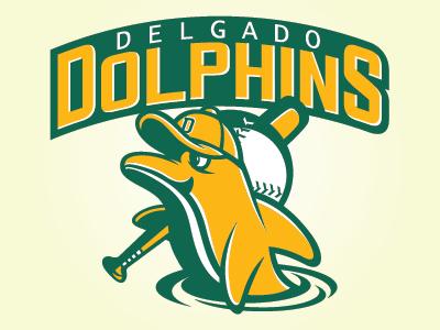 Delgado Dolphins sports branding college sports mascot logo graphic design sports identity sports logo logo design