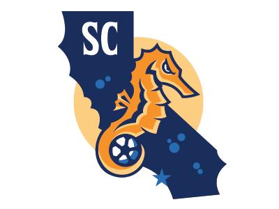 Southern California Seahorses  soccer seahorses usl sports branding pro sports mascot logo graphic design sports identity sports logo logo design