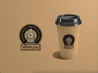 Station Chai design logo branding illustration