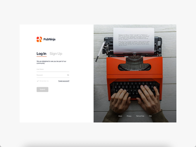 PubNinja dashboard Login/Sign Up Screen prototype xd design ui design