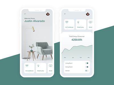 Smarthome App Concept app xd design prototype minimal ui design