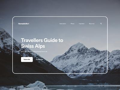 NomadicLife website design dribbble xd design minimal ui design