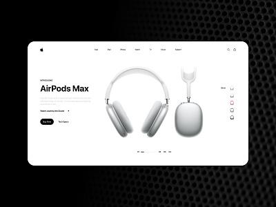 Airpod Max website design prototype xd design minimal ui design