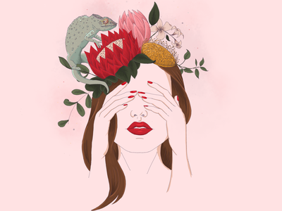 Flowers 3 female chameleon procreate art procreate illustration flower crown freehand drawing digital art