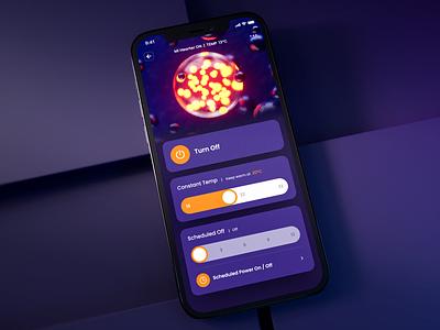 Heater Controller UI purple app interface ui design ios app ui design