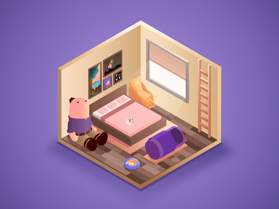 Ideal Office Corners: Room for the Zzzs the visual team isometric illustration jin design