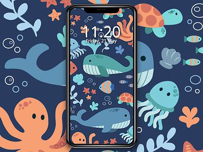 The Ocean pattern design under the sea mobile wallpaper ocean vector illustration nature art pattern illustration pattern ocean life wallpaper freebie illustration jindesign