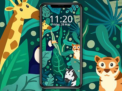 Jungle Life pattern design theme jungle animal the visual team mobile cute jin design freebie design vector illustration