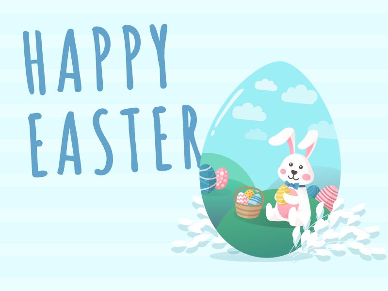 Happy Easter! easter egg easter eggs easter rabbit rabbit easter cartoon cute vector design jindesign illustration jin design ux ui