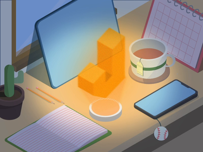 [ Freebie ] Mid-year experiment JIN #6 Isometric Desk animation motion graphics jin design isometric illustration hologram desk freebie isometric