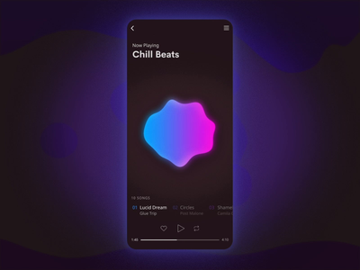 Lava Lamp Music App - Interaction dark gradient motion graphics soothing ios play music album music app lava lamp music app ui ux jin design