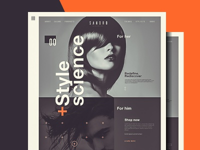Sando Hairdressing web ux ui typography layout landing page style hair swiss