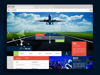Flyblue Travels Home Page travel flyblue user interface ui ux airplane hotel website web design flat web