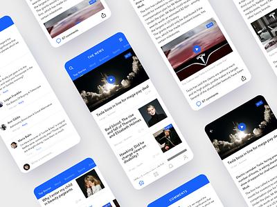 News app tabbar ios mobile tesla feed user interface design clean ui news app