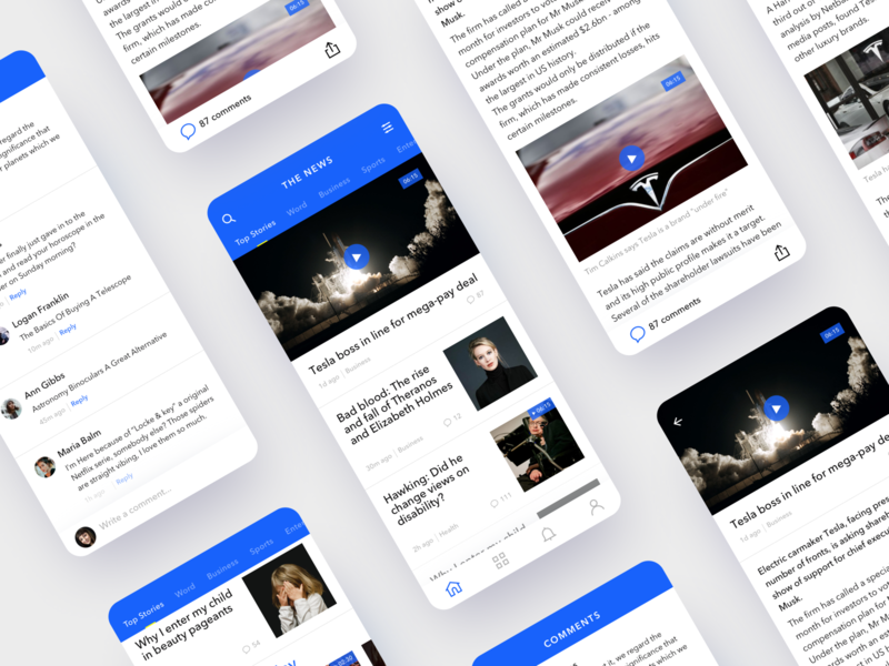 News app tabbar ios mobile tesla feed user interface design clean ui news app