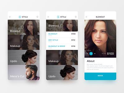 Stylu Beauty App ui tan on demand nails mobile makeup haircut curls clean beauty salon beauty app