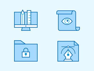 Random Icons sheet pencil pen outline lock illustration icons iconography icon eye design