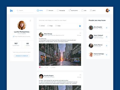 Linkedin Main web ui social redesign network linkedin interface design concept business