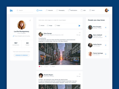 Linkedin Main web ui social redesign network linkedin interface design concept business