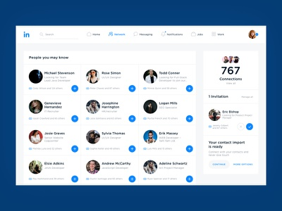Linkedin Network web ui social redesign network linkedin interface design concept business