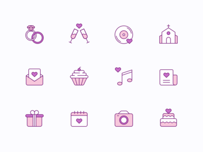 Free Wedding Icons valentine rings music cake free gift vector heart love wedding stroke icon