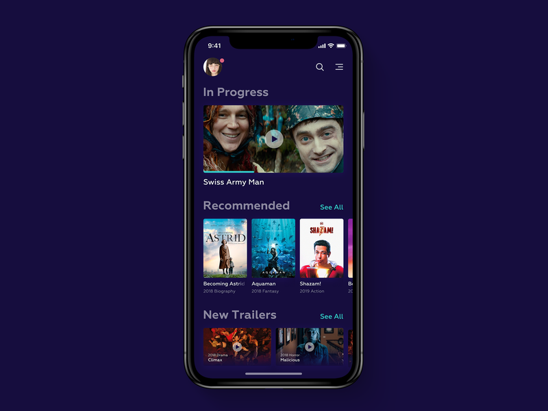 Movie App player iphone x concept mobile clean app films cinema movie dark ui app