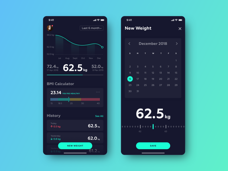 Weight Tracker App weight tracker dark ui body weight mobile ios bmi app fitness app weight loss weight