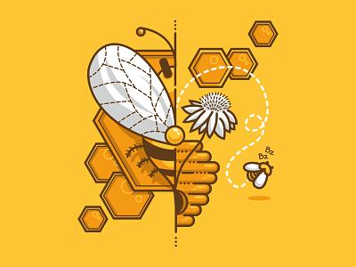 bee earth nature flower illustrator vector honeybee honey bzz yelllow bee