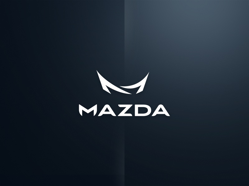 Mazda simple white line space dojo chinesse icon mark sign typo brand logo concept mazda
