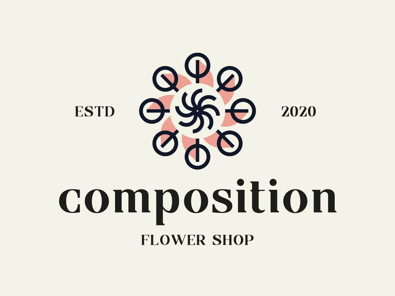 kwiaciarnia typography typo lineart line simple brankd logo smal business company composition shop flower shop florist flower