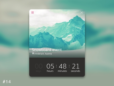 14   Countdown Timer ui app moutains time event snowboard timer countdown dailyui