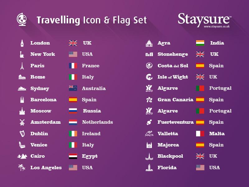 Staysure Travelling Icon & Flag Set purple insurance set flags icons travel staysure