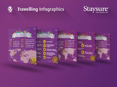 Staysure Travelling Infographics purple insurance staysure travel icons flags infographics
