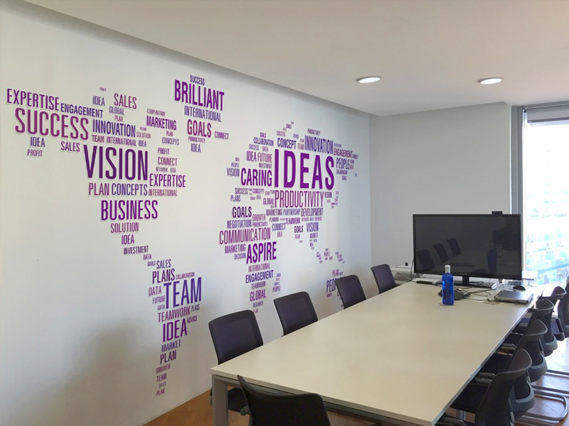 Staysure Office Branding boardroom typography wallart branding office gibraltar insurance staysure