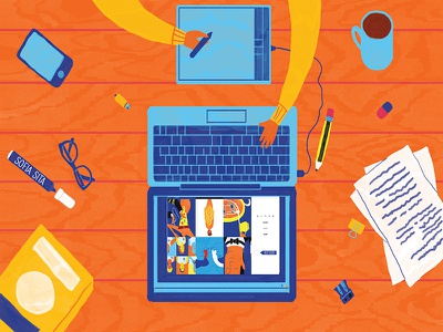 Working digital work illustration monday coffee sofia-sita