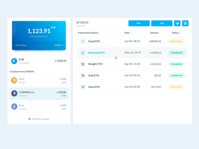 Cryptocurrency wallet web