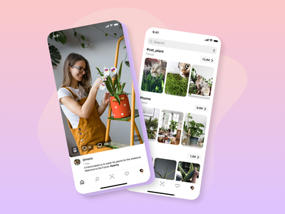 Plants, Friends, Mingle - MyPot App modern webdesig ux design minimal app design ui app