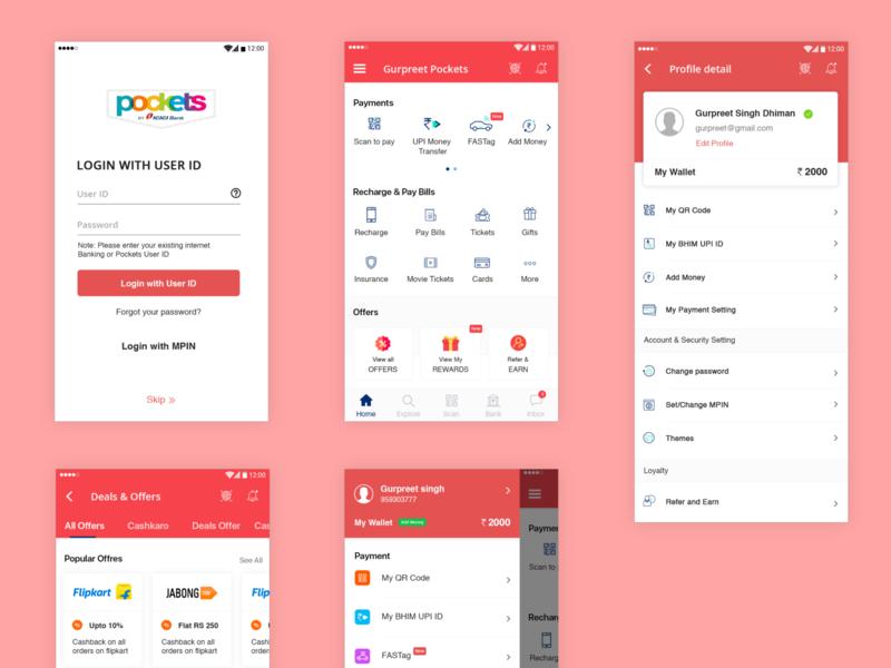 pocket payment app flat branding uiux ux ui
