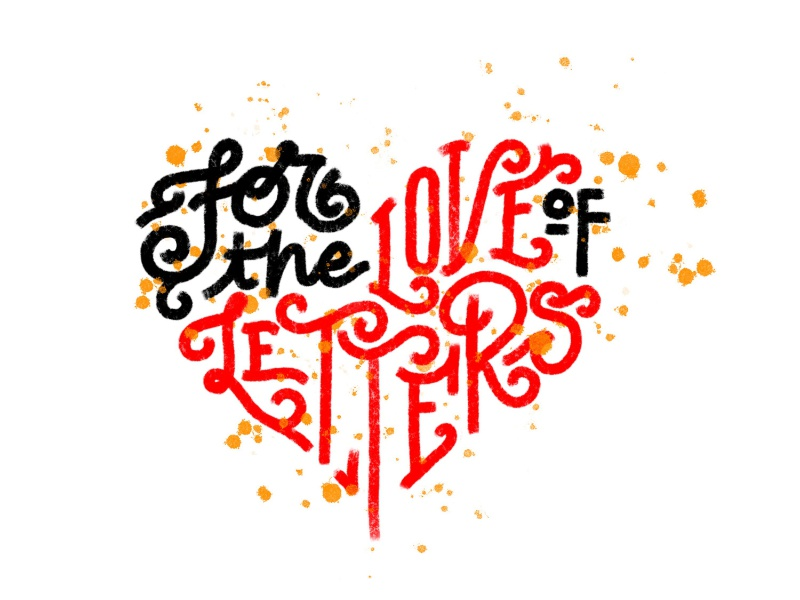 For The Love Of Letters - Rebound Challenge heart digital lettering brush lettering rebound vallentine day love letters