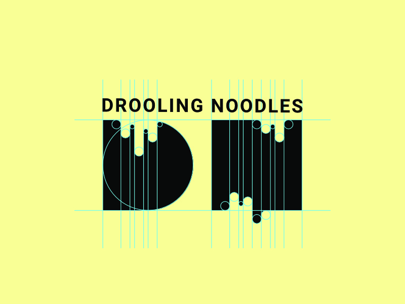 Drooling Noodles merchandising product ramen asian cuisine chinese drooling noodles logo construction logo presentation branding brand identity