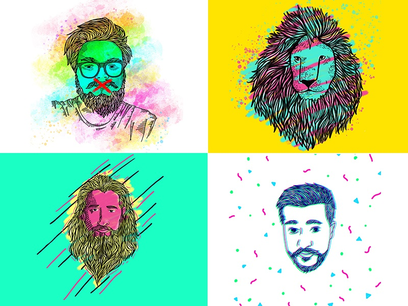 Portrait series  animal illustration portrait artist colorful digital portraits character illustration animal caricatures portrait