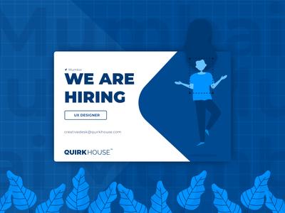 We are Hiring - UX Designer we are hiring ux designer job job opening hire design thinking user experience ux ux designer