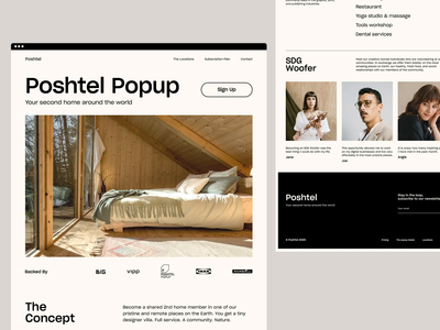 Poshtel - Homepage Explorations simple corporate platform editorial website design ux minimal interface ui web